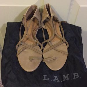L.A.M.B Tan Suede Gladiator Sandal